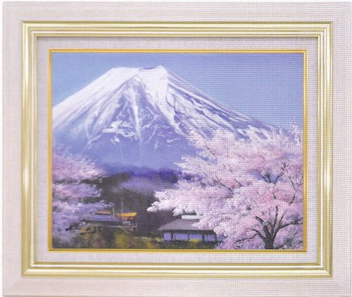 『里の桜に富士』 F6 肉筆画油絵 加治秀雄先生画 8116 アイボリー 手書き