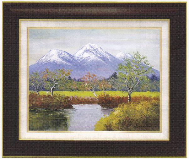 『妙高山』 F6 肉筆画油絵 遠藤勝先生画 8120 ブラウン 手書き