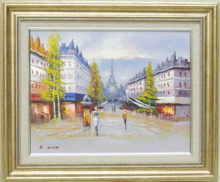 『ヨーロッパ1(塔)』 F6 肉筆画油絵 C.COX画 8111 シルバー 手書き