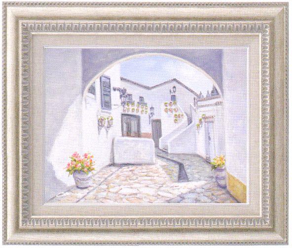 『石畳の街並み』 F6 肉筆画油絵 奥田ひとみ画 9631 シルバー 手書き