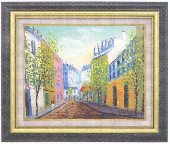 『パリの街』 F6 肉筆画油絵 桑山茂先生画 8116 グリーン 手書き
