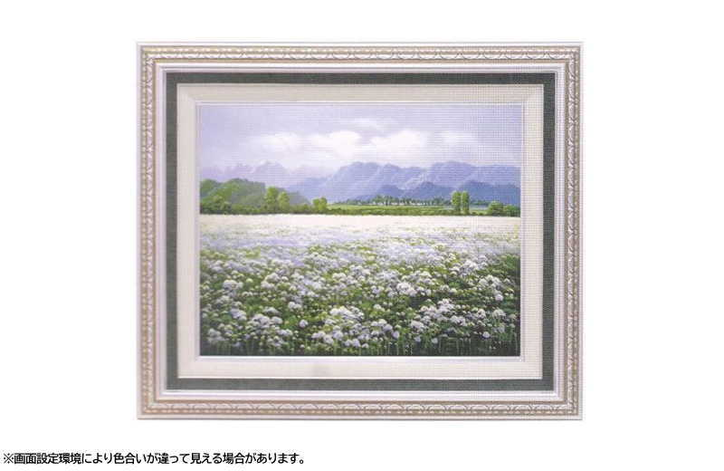 『長野戸隠高原』 F6 肉筆画油絵 室田彰先生画 9586 Sグリーン 手書き