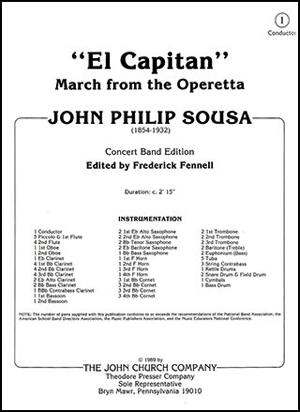 [楽譜] エル・カピタン(フェネル改訂版)《輸入吹奏楽譜》【送料無料】(El Capitan)《輸入楽譜》