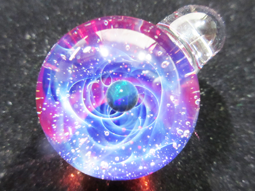 "For rush orders, now delivery 2-3 weeks ★ orders production ★ [Mars ""universe pendant Pyrex glass black opal"