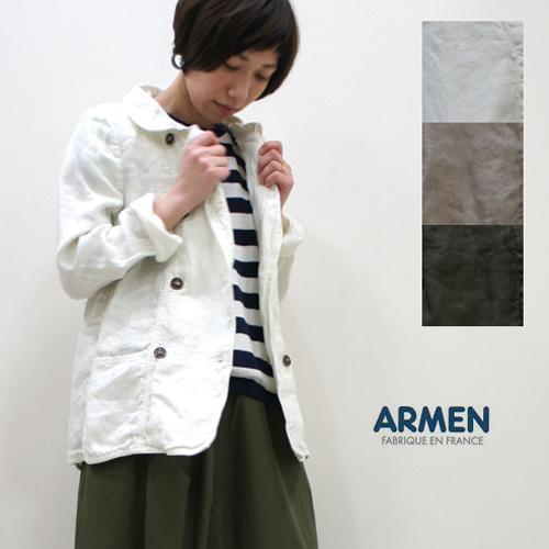 ARMEN【アーメン】製品染めリネンヘリンボーンラウンドカラーダブルジャケット NAM1431LH レディース 麻 ピージャケット