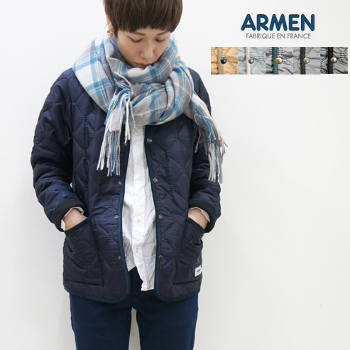 ARMEN【アーメン】裏フリースナイロンVネックキルティングジャケット NAM1754 HEAT QUILT ヒートキルト レディース