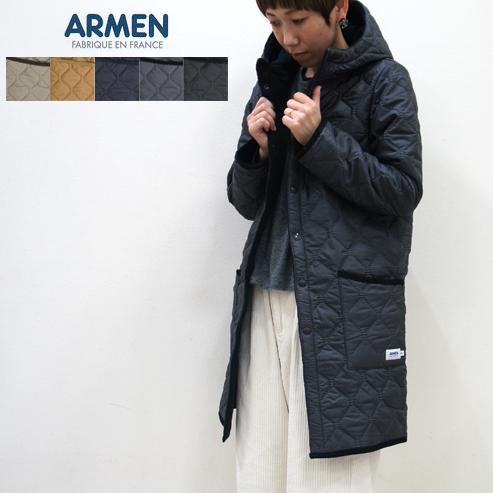 ARMEN【アーメン】ナイロン/フリースリバーシブルフード付きキルティングコート REVERSIBLE HOODED QUILTING COAT NAM0681 NAM1753 レディースHEAT QUILT(ヒートキルト)