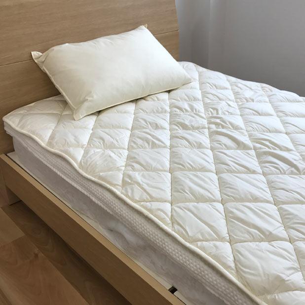 A ウール100% 洗えるベッドパッド ワイドダブル 150×200cm ベッドパット ウォッシャブルベットパッド  介護用 子供用 二段ベッド 羊毛