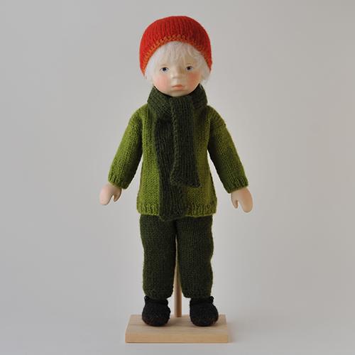 ポングラッツ人形 オールウッド H314 緑セーター赤帽子