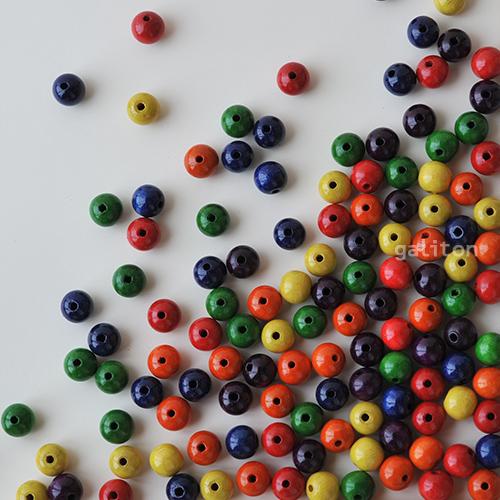 童具館 6色ビーズ・小穴600個(6色×100個)
