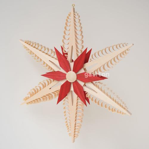 【xmas限定販売】《クリスマスオーナメント》 削り木の星L 赤 199084