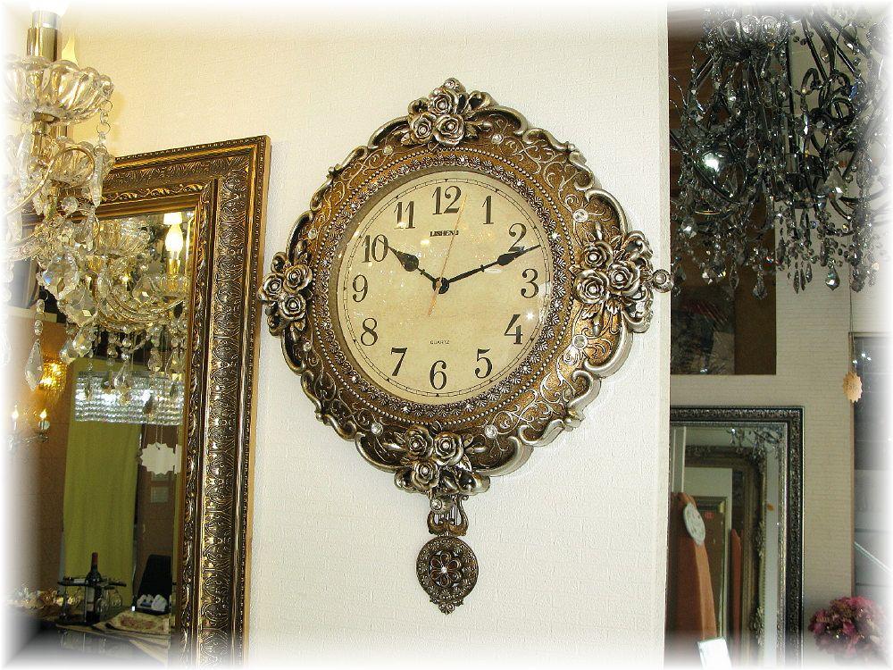 時計 壁掛け 振子 家具 インテリア インテリア小物 和風 洋風<BR><BR>【送料無料!】可愛い壁掛け時計<BR>新品 壁掛け薔薇モチーフ<BR>アンティーク調振子時計<BR>おしゃれ 豪華 可愛い シンプル アンティーク