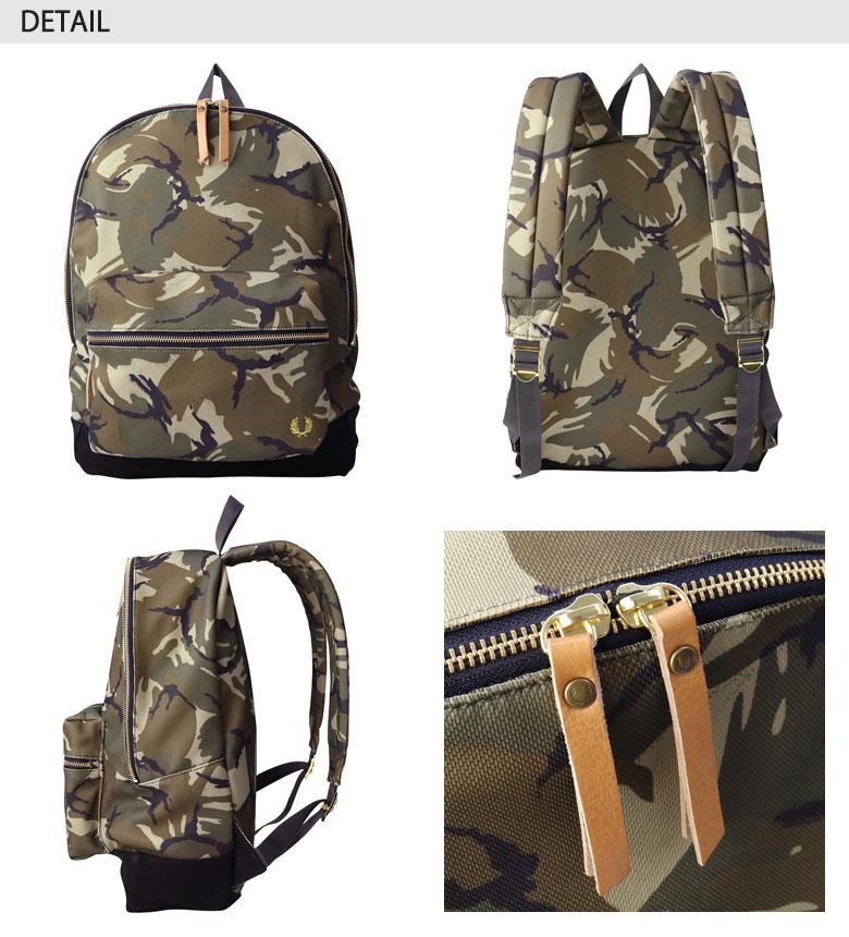 弗雷德 · 佩里袋弗雷德 · 佩里背包赌气迷彩打印背包皮奎特迷彩打印背包背包男子女子学校 F9227