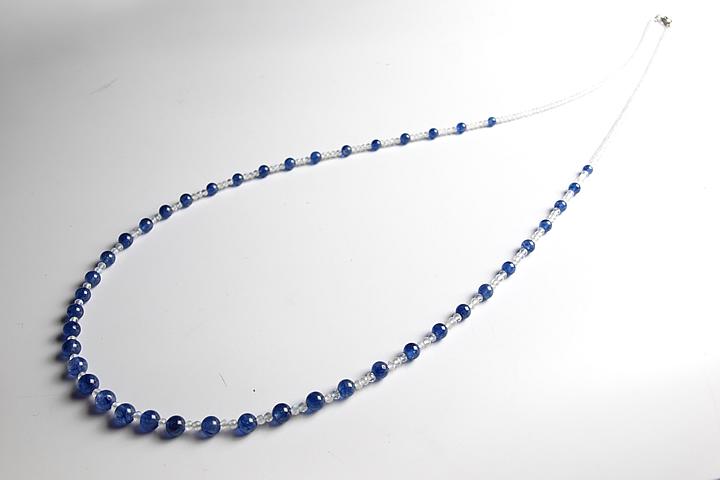 ブルームーンストーン×宝石質サファイアネックレス(インド加工)