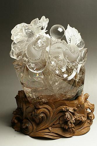ルチル水晶彫刻 龍