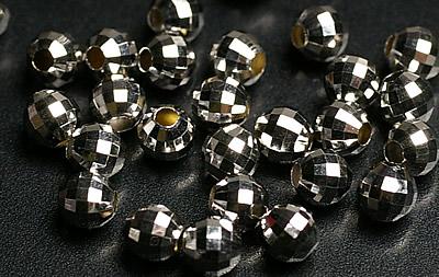 3mm 業界No.1 K18WGホワイトゴールドミラーボール粒売りビーズ 出色