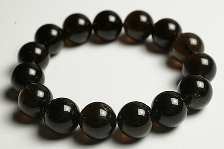 14mm天然モリオン(黒水晶)ブレス15玉