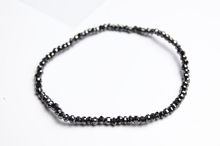 3mmブラックダイヤモンド高級型カットブレスレット 12.0ct