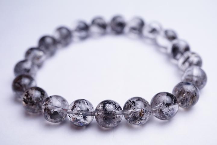 9mmハーキマー水晶ブレスレット タール入り アメリカニューヨーク産 ハーキマーダイヤモンドブレスレット