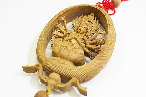 最高級インドマイソール産 千手観音彫り彫刻 お守り