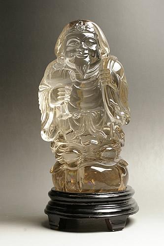 純天然スモーキー水晶彫刻 大黒様