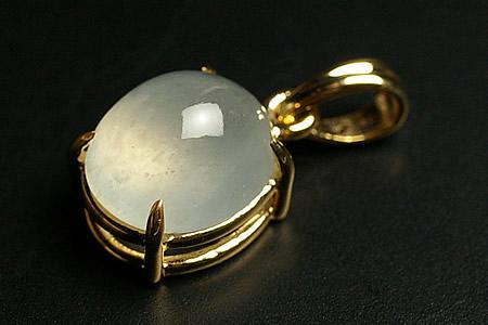 宝石質ホワイトヒスイペンダントトップミャンマー産 K14金 人気,本物保証
