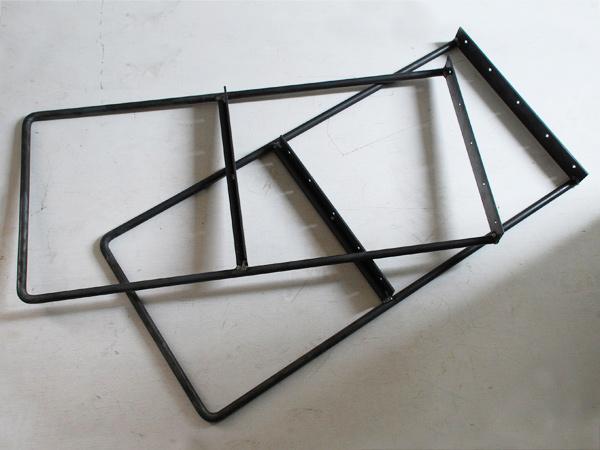 シンプルな鉄の棚脚 黒皮仕上げシンプル・アイアン・レッグス・Lサイズ(2コセット)送料無料対象外【送料区分2】