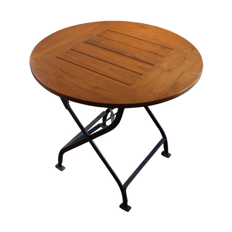 アンティークデザインの折りたたみテーブル。ガーデンファニチャーとして屋外での使用も可能です。 ハンドルアップ・シリーズ・フォールディング・テーブル(800mm)[送料区分4]【木製 チーク 古材 アイアン 折りたたみテーブル 折り畳み 屋外 屋内 アウトドア】