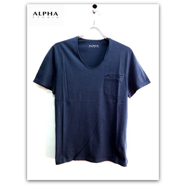 ALPHA STUDIO (アルファ スタジオ) ウォッシュド加工 襟切りっぱなし 胸ポケ Uネック 半袖 Tシャツ ネイビー(紺)