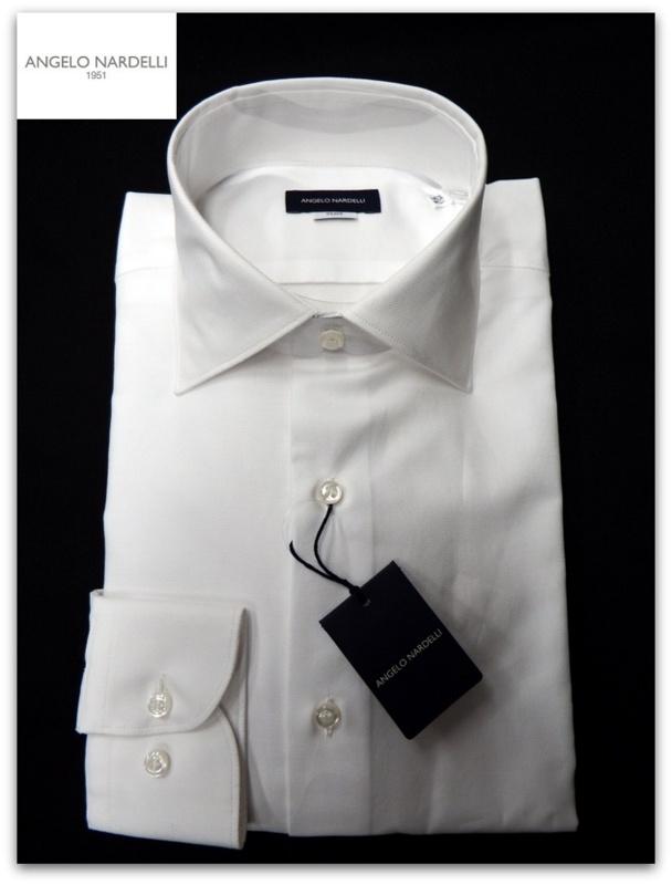 ANGELO NARDELLI 1951(アンジェロ ナルデッリ 1951)スリムドレスシャツ/ホワイト(白)