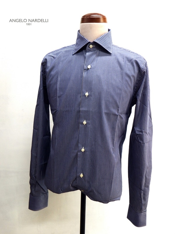 ANGELO NARDELLI 1951(アンジェロ ナルデッリ 1951)ストライプ柄長袖ドレスシャツ/ネイビー