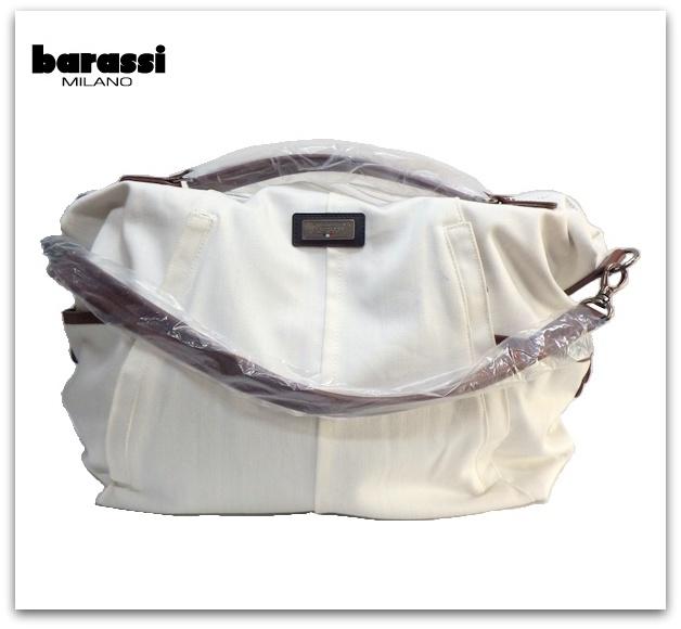 barassi(バラシー)キャンパス地3WAYバッグ/ホワイト×ブラウン
