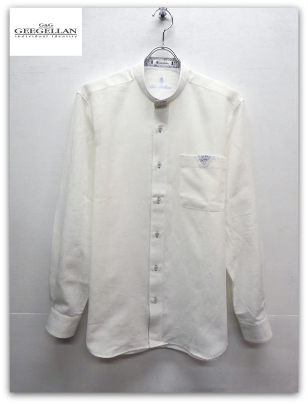 【送料無料】GEEGELLAN(ジーゲラン)特殊素材(COOLMAX)使用リネン混スタンドカラー長袖シャツ/ホワイト