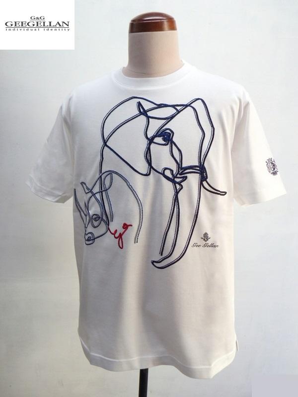 GEEGELLAN (ジーゲラン) アニマル柄刺繍 半袖 Tシャツ ホワイト (白)