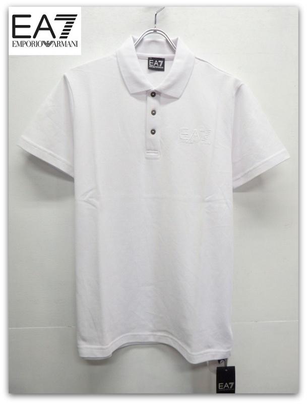 EA7 EMPORIO ARMANI(イーエーセブン エンポリオ アルマーニ)ロゴ刺繍半袖ポロシャツ/ホワイト