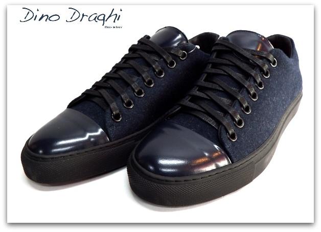 Dino Draghi (ディーノ ドラーギ) フェルト×レザー スニーカー ネイビー×ブラック