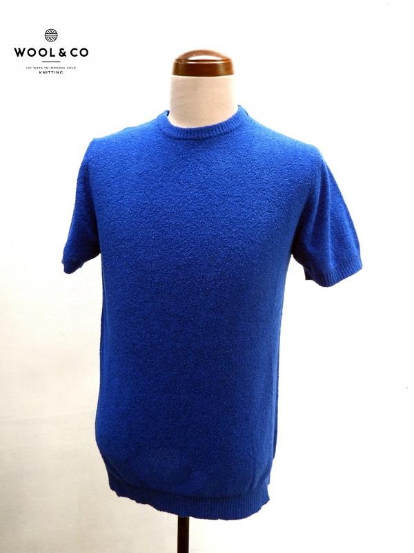WOOL&CO (ウール&コー) パイル地 半袖 カットソー ブルー(青)