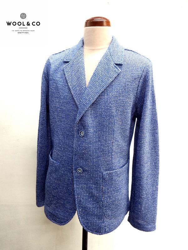 WOOL&CO (ウール&コー) 2ボタン サマーニット ジャケット ブレザー ブルー系 (青)