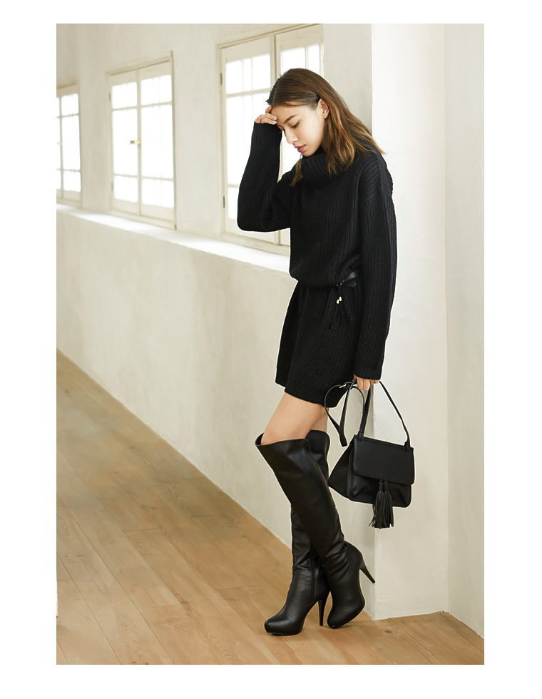"""All 12 color Lady's feet to make the staple legs knee high boots [new fall""""2-WAY fake leather faux suede legs 11 cm stiletto basic knee high boots women's [in stock], [support]"""