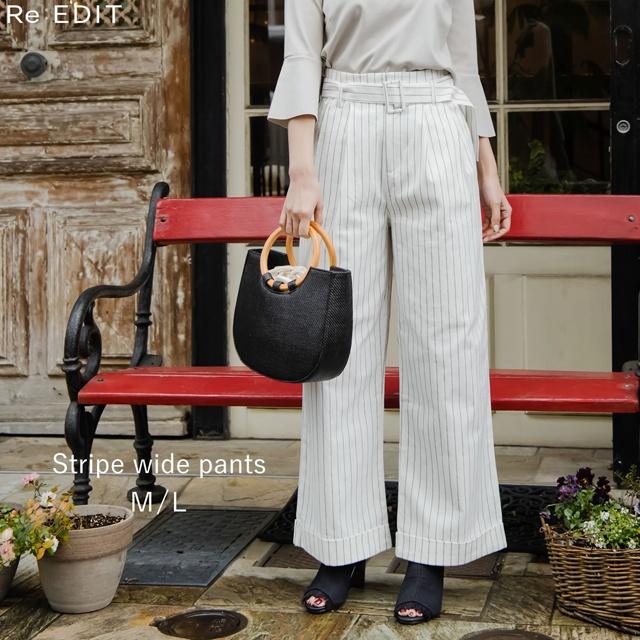 クリーンな女性らしさをアピールM/Lサイズ ピンストライプベルテッドセミワイドパンツ レディース ストレートパンツ ウエストベルト ハイウエスト 綿混 コットン 春物:Re