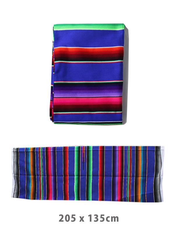 【インポート】【即納】メキシカンラグマット サラペ ラグ ベッドカバー ソファカバー 大きいサイズ SARAPE MEXICAN RAG MAT blue multi04