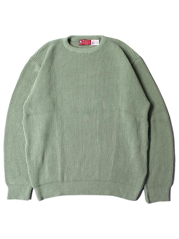 MADE 激安通販 IN USA インポート Binghamton Knitting SHAKER CREW COTTON クルーネック 新作入荷!! sage ニット セージ コットン ビンガムトン セーター SWEATER