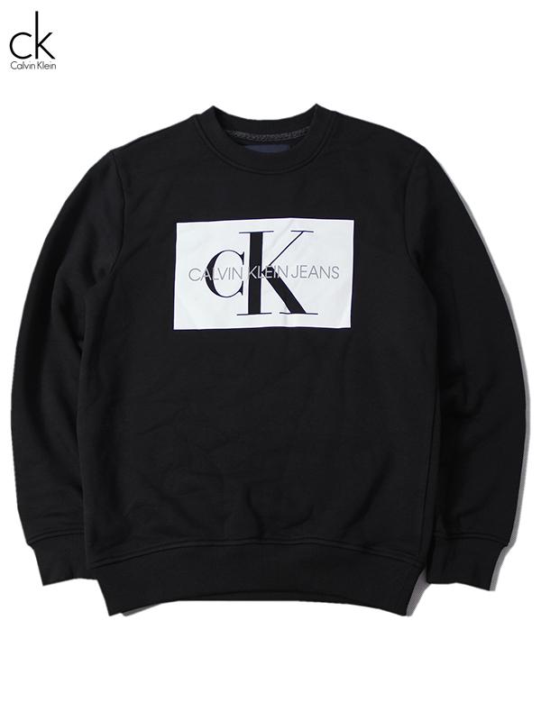 正規品 インポート 定番キャンバス CK トレーナー トップス メンズ US買い付け正規品 Calvin Klein Jeans BOX ロゴ SWEAT クルーネック black ブラック 超美品再入荷品質至上 ボックス カルバンクライン CREW LOGO スウェット NECK