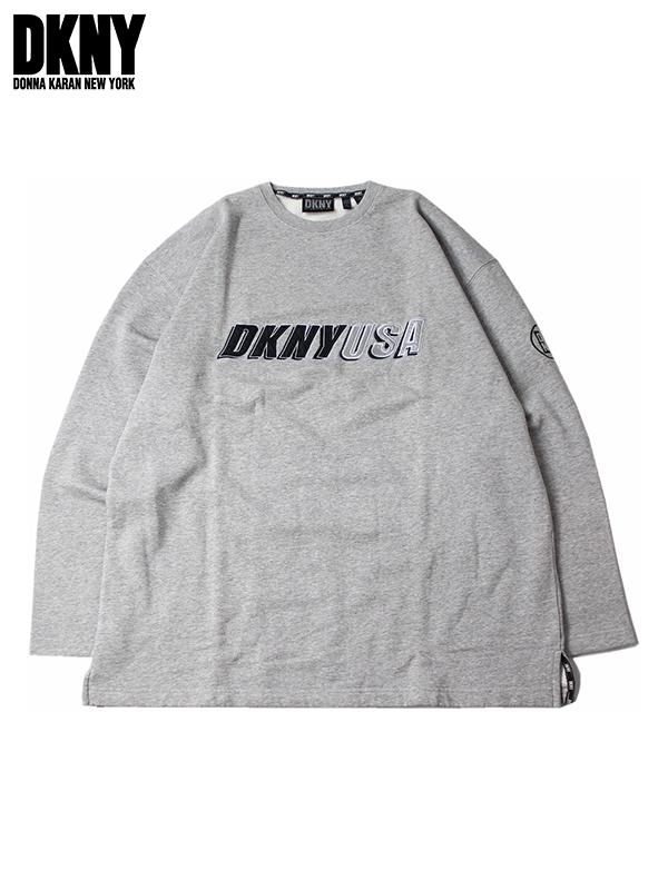 DKNY Donna Karan logo crew neck sweat shirt gray UAS LOGO CREWNECK SWEAT  gray