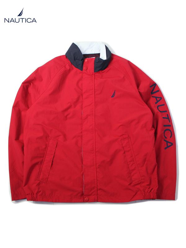 【USモデル】NAUTICA SLEEVE LOGO NYLON JACKET red ノーティカ ナイロンジャケット ライト アウター刺繍 スリーブロゴ レッド