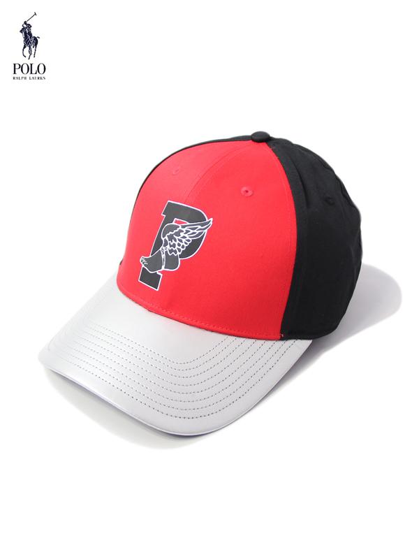 【US限定モデル】POLO Ralph Lauren ポロ ラルフローレン P WING 6PANEL CAP red/black/silver 6パネル キャップ マルチカラー 帽子 男女兼用 フリーサイズ