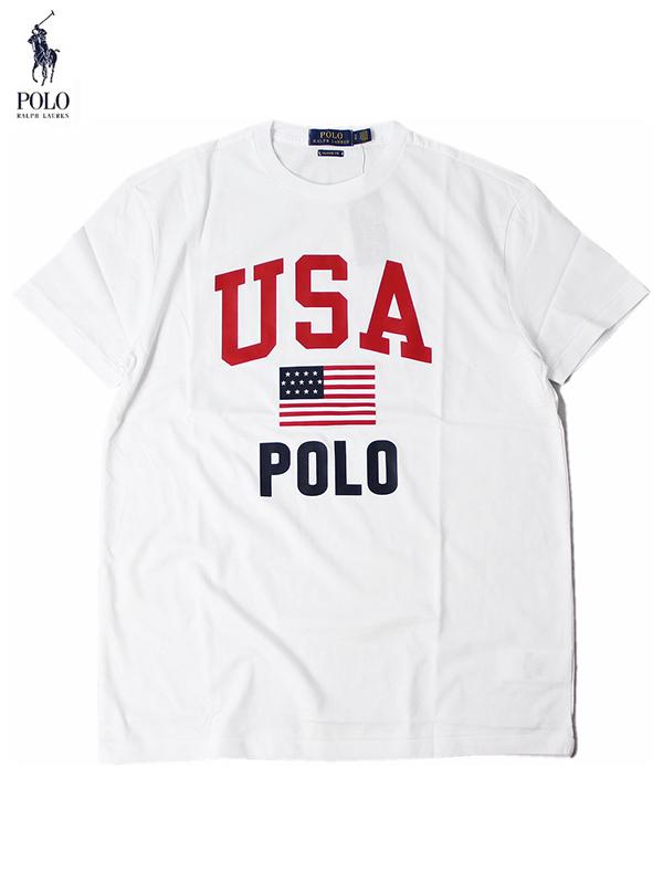 【インポート正規品】POLO Ralph Lauren ポロ ラルフローレン 星条旗 ロゴ 半袖Tシャツ ホワイト USA FLAG LOGO S/S TEE white