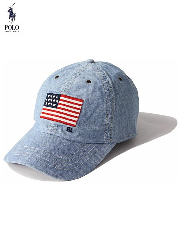 【USモデル/正規品】POLO Ralph Lauren ポロ ラルフローレン 6パネル コットン キャップ 帽子 星条旗 デニムウォッシュブルー