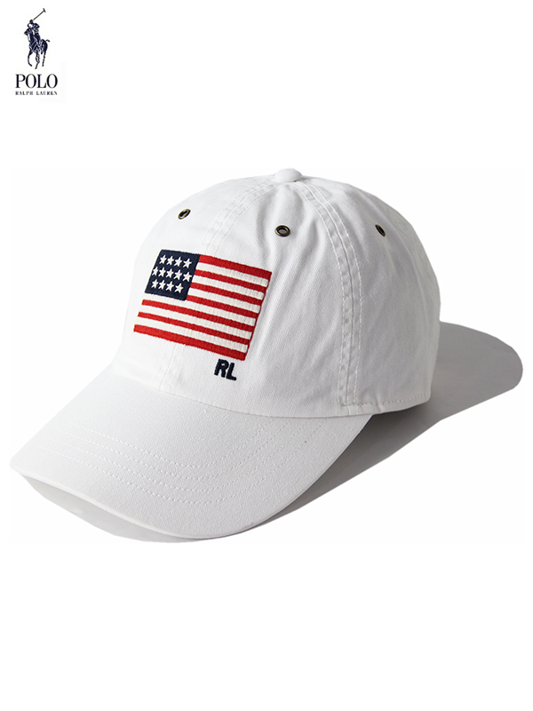 【US限定モデル】ポロ ラルフローレン 6パネルコットンキャップ 帽子 星条旗 ホワイト POLO Ralph Lauren