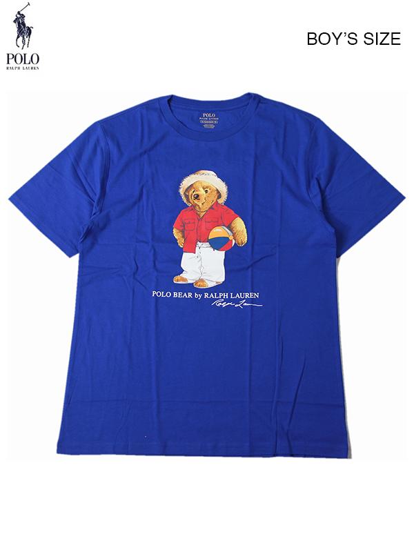 【ボーイズサイズ】 POLO Ralph Lauren ポロ ラルフローレン キャプテン ベアー 半袖 Tシャツ ブルー BOYS BEACH BALL BEAR CREWNECK S/S Tee blue